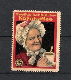 Reklamemarke Heilbronn, Seelig's Korn-Kaffee, Emil Seelig AG, Grossmutter trinkt Kaffee