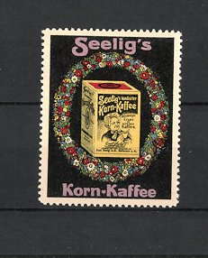 Reklamemarke Heilbronn, Seelig's Korn-Kaffee, Emil Seelig AG, Packung Kaffee im Blumenkranz