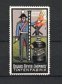 Reklamemarke Chemnitz, Tintenfabrik Eduard Beyer, Portrait General Scharnhorst, Buchstabe I