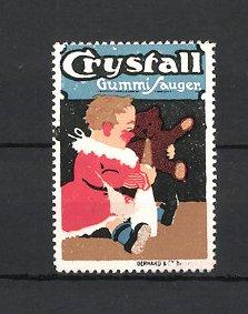 Reklamemarke Crystall Gummi-Sauger, Baby mit Milchflasche versucht Teddybär zu füttern