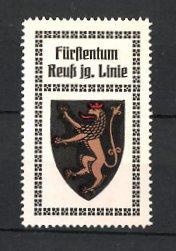 Reklamemarke Fürstentum Reuss jg. Linie, Wappen