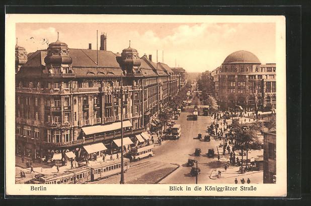 AK Berlin-Kreuzberg, Strassenbahn in der Königgrätzer Strasse