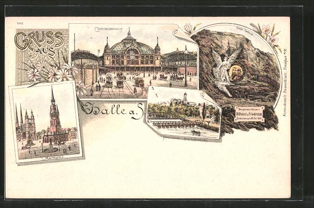 Lithographie Halle / Saale, Centralbahnhof, Marktplatz, Kaiserdenkmal