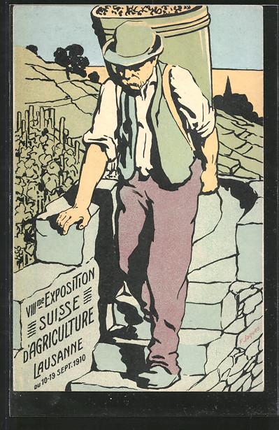 Künstler-AK Lausanne, VIII. Exposition Suisse d'Agriculture 1910, Winzer bei der Weinlese