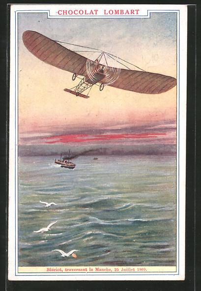 AK Chocolat Lombart, Blériot, traversant la Manche 1909, Flugzeug über einem Schiff