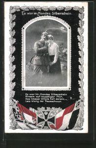 AK Es war im Mondes Silberschein, Soldatenliebe, Eisernes Kreuz