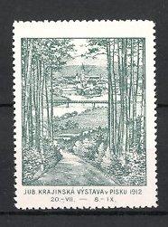 Reklamemarke Pisku, Jub. Krajinská Výstava v Pisku 1912, Ortsansicht