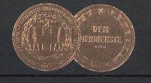 Präge-Reklamemarke München, Ausstellung Süddeutscher Drogisten 1913, Waage und Kreuz