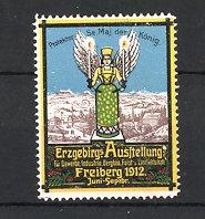 Reklamemarke Freiberg, Erzgebirgs-Ausstellung 1912, Stadtmotiv und Engel mit Kerzen