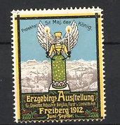 Reklamemarke Freiberg, Erzgebirgs-Ausstellung 1912, Engel mit Kerzen & Stadtansicht
