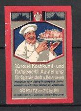 Reklamemarke Görlitz, grosse Kochkunst-und fachgewerbliche Ausstellung 1911, Koch serviert Braten