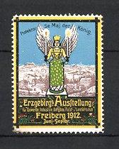 Reklamemarke Freiberg, Erzgebirgs-Ausstellung für Gewerbe und Industrie 1912, Stadtmotiv und Engel mit Kerzen