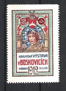 Reklamemarke Boskovicich, Krajinská Vystava 1912, Handwerker mit Hammer, Wappen