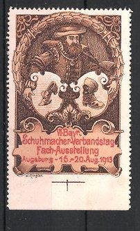 Reklamemarke Augsburg, VI. bayerischer Schuhmacher-Verbandstag 1913, Schuhmacher und Wappen