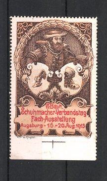 Reklamemarke Augsburg, VI. bayerischer Schuhmacher-Verbandstag 1913, Schuhmacher, Wappen