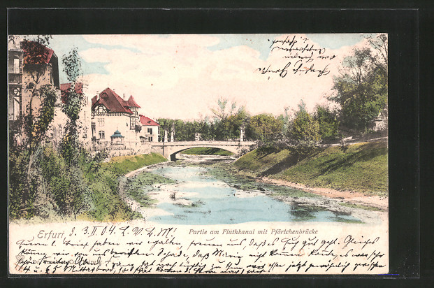 AK Erfurt, Partie am Fluthkanal mit Pförtchenbrücke