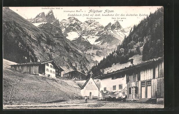 AK Einödsbach, Ortsmotiv mit Kapelle und Blick auf die Allgäuer Alpen