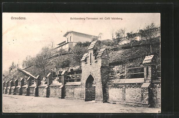 AK Graudenz / Grudziadz, Schlossberg-Terrassen mit Café Weinberg