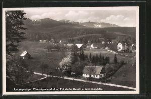 AK Ober-Agnetendorf, Ortsansicht mit Märkische Baude u. Schneegruben