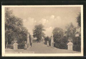 AK Crimmitschau, Blick über die Bismarckbrücke