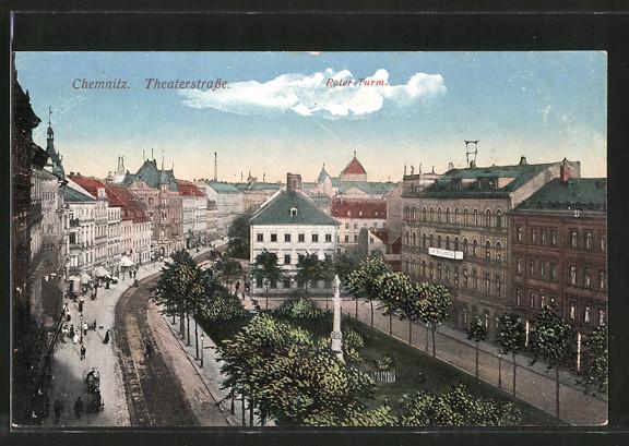 AK Chemnitz, Theaterstrasse mit Roter Turm