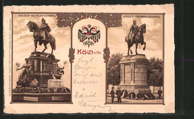 Lithographie Köln-Neustadt, Kaiser Wilhelm-Denkmal, Kaiser Friedrich-Denkmal, Doppelkopfadler