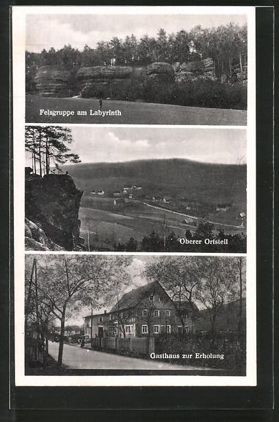 AK Langenhennersdorf, Gasthaus zur Erholung, Felsgruppe am Labyrinth, Oberer Ortsteil