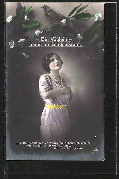 Foto-AK Photochemie Berlin NR 2503-2: Ein Vöglein singt im Lindenbaum für eine schöne Frau
