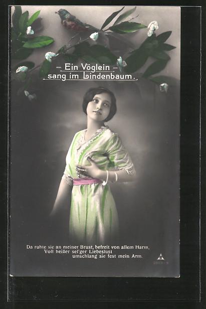 Foto-AK Photochemie Berlin NR 2503-4: Ein Vöglein singt im Lindenbaum für eine hübsche Frau