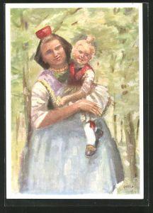 Künstler-AK Mutter mit ihrem Kind in Schwälmer Tracht
