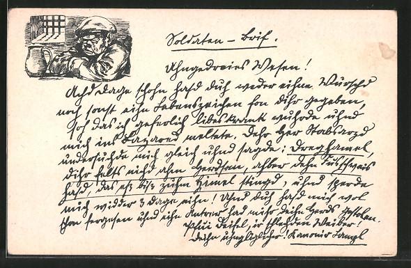 Künstler-AK Soldaten-Brief, weinender Kamerad