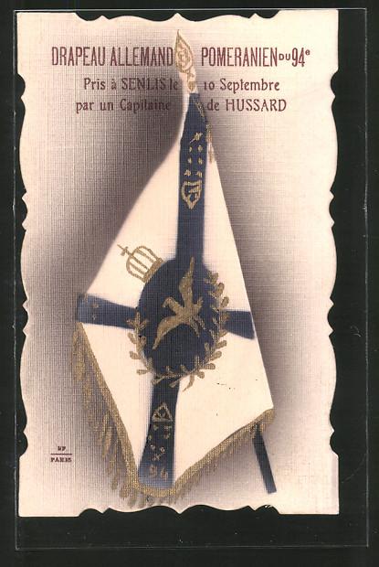 AK Drapeau Allemand Pomeranien du 94e, eroberte deutsche Regimentsfahne