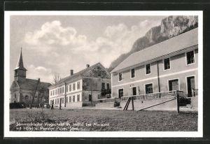 AK Wegscheid im Halltal, Ortspartie mit Hotel und Pension Puhm und Kirche