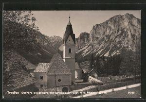 AK Tragöss, Kirche im Oberort mit Blick zur Griesmauer