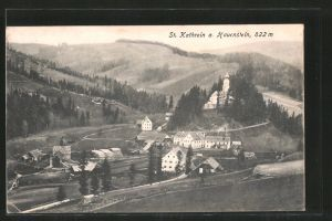 AK St. Kathrein a. Hauenstein, Teilansicht mit Kirche und Blick ins Land