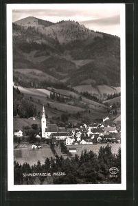 AK Passail, Ortsansicht mit Kirche und Blick gegen einen Berghang