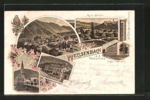 Lithographie Weissenbach a. d. Triesting, Herz Jesu-Kirche, Fuggers Fremdenheim, Ruine Neuhaus