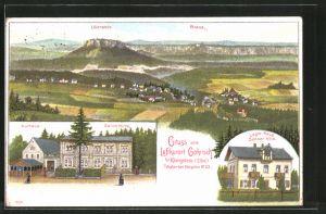 Lithographie Gohrisch, Pension Senner-Villa, Kurhaus, Sennerhütte, Panoramablick mit Lilienstein und Brand