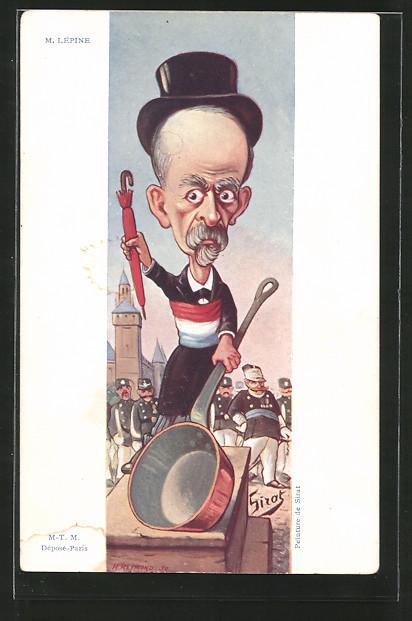 Künstler-AK Karikatur, Politiker Louis Lépine mit einem Kochtopf