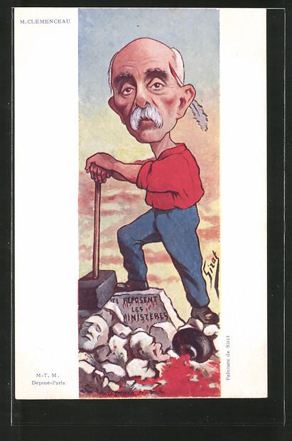 Künstler-AK Karikatur, Politiker Georges Clemenceau mit einem Vorschlaghammer