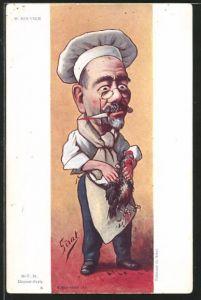 Künstler-AK Karikatur, Politiker Maurice Rouvier als Metzger mit einem toten Huhn in der Hand