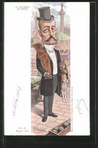 Künstler-AK Karikatur, Politiker Pierre Waldeck-Rousseau trägt einen Hasen in der Hand