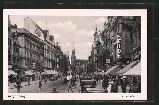 AK Magdeburg, Strassenbahn im Breiten Weg