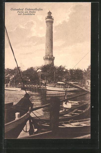 AK Swinemünde-Osternothafen, Partie am Hafen mit Leuchtturm, Boote