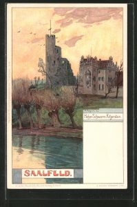 Künstler-Lithographie Albert Stagura: Saalfeld, Burgruine Hoher Schwarm u. Schloss Kitzerstein