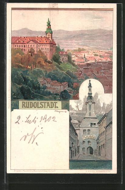 Künstler-Lithographie Albert Stagura: Rudolstadt, Gasthaus Ratskeller, Blick auf Schloss und Stadt