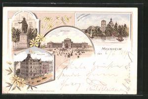 Lithographie Mannheim, Bahnhof, Bahnhof-Hotel Lehn, Schiller-Denkmal, Pferdebahn