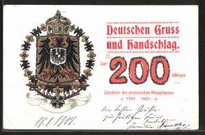 Präge-Lithographie deutschen Gruss und Handschlag zur 200 jährigen Jubelfeier des preuss. Königshauses 1901