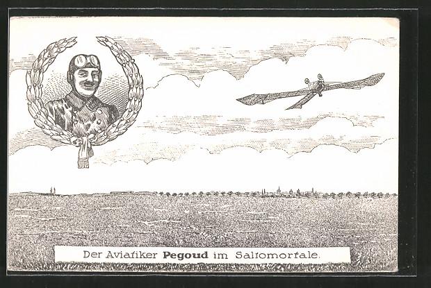 AK Portrait Pegoud, Aviatiker Kunstflieger macht Saltomortale mit einem Flugzeug