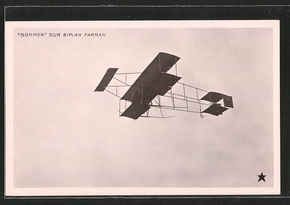 AK Sommer Sur Biplan Farman, Doppeldecker-Flugzeug am Himmel